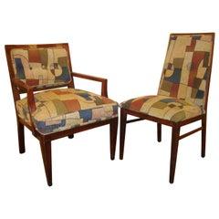 Set of Eight Mid-Century Modern Dining Chairs Having Geometric Upholstery