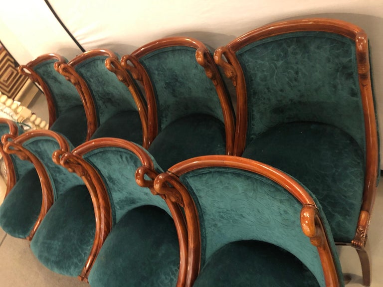 Set of Eight Mid-Century Modern or Federal Style Dining Side Chairs For Sale 9