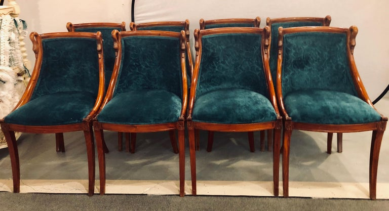 Neoclassical Set of Eight Mid-Century Modern or Federal Style Dining Side Chairs For Sale