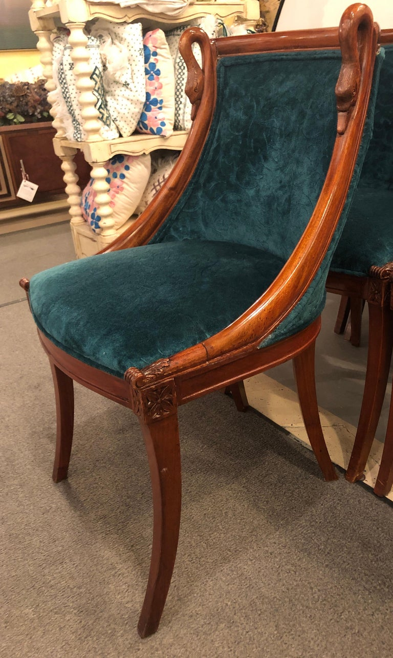 Upholstery Set of Eight Mid-Century Modern or Federal Style Dining Side Chairs For Sale