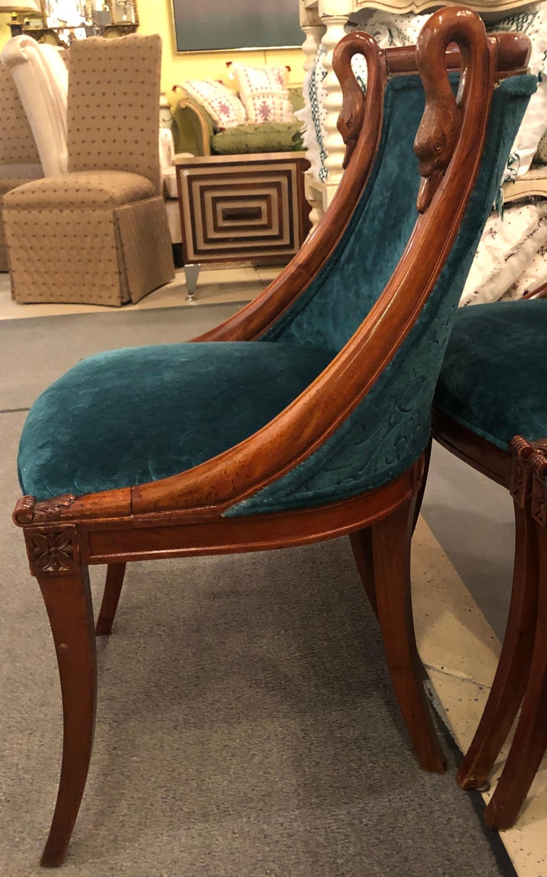 Set of Eight Mid-Century Modern or Federal Style Dining Side Chairs For Sale 1