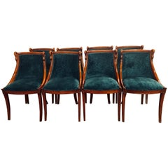 Set of Eight Mid-Century Modern or Federal Style Dining Side Chairs