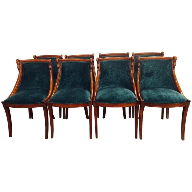 Set of Eight Mid-Century Modern or Federal Style Dining Side Chairs For Sale