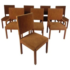 Set of Eight Mid-Century Modern Suede Dining Chairs