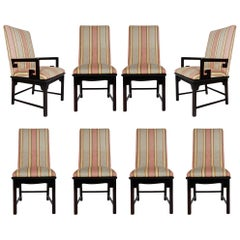 Set of Eight Midcentury Asian Modern Upholstered Chinoiserie Dining Chairs