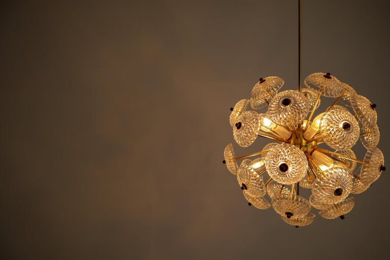 European Set of Eight Midcentury Brass Floral Chandeliers in the Style of Emil Stejnar For Sale