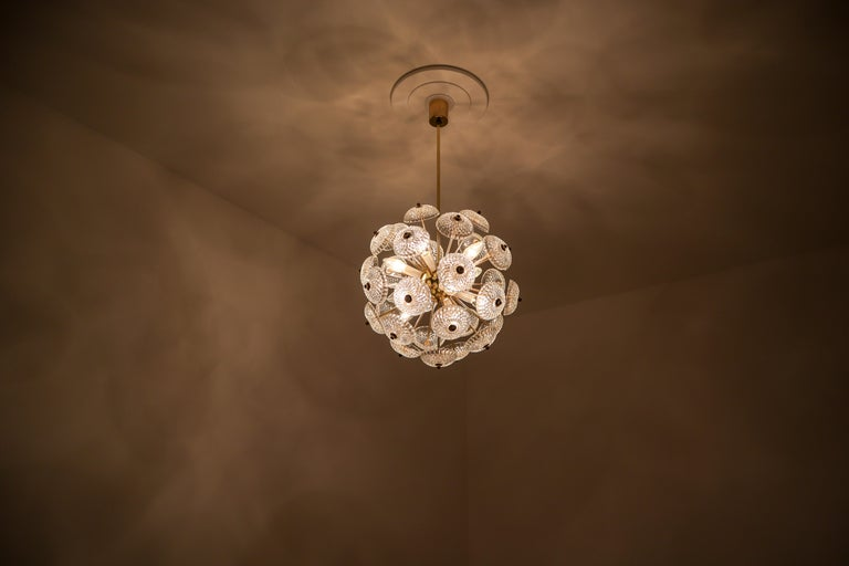 Set of Eight Midcentury Brass Floral Chandeliers in the Style of Emil Stejnar In Good Condition For Sale In Almelo, NL