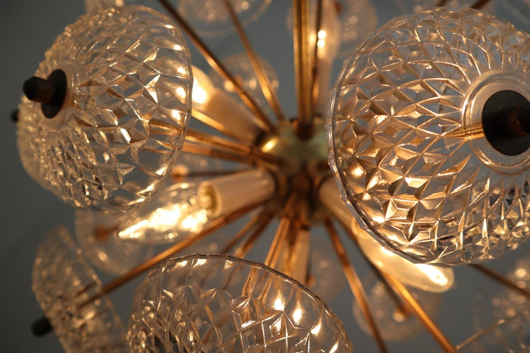 20th Century Set of Eight Midcentury Brass Floral Chandeliers in the Style of Emil Stejnar For Sale