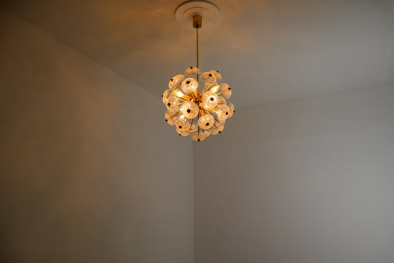 Set of Eight Midcentury Brass Floral Chandeliers in the Style of Emil Stejnar For Sale 1