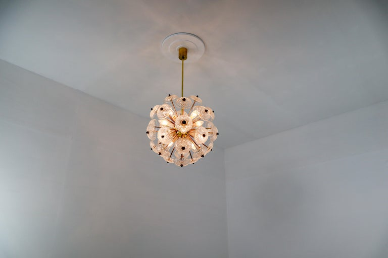Set of Eight Midcentury Brass Floral Chandeliers in the Style of Emil Stejnar For Sale 3