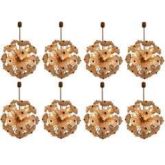 Set of Eight Midcentury Brass Floral Chandeliers in the Style of Emil Stejnar