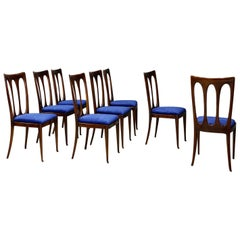 Set of Eight Midcentury Chairs by William Ulrich Restored in Blue Velvet, 1950s