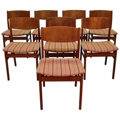 Set of Eight Midcentury Danish Modern Teak Side Dining Chairs