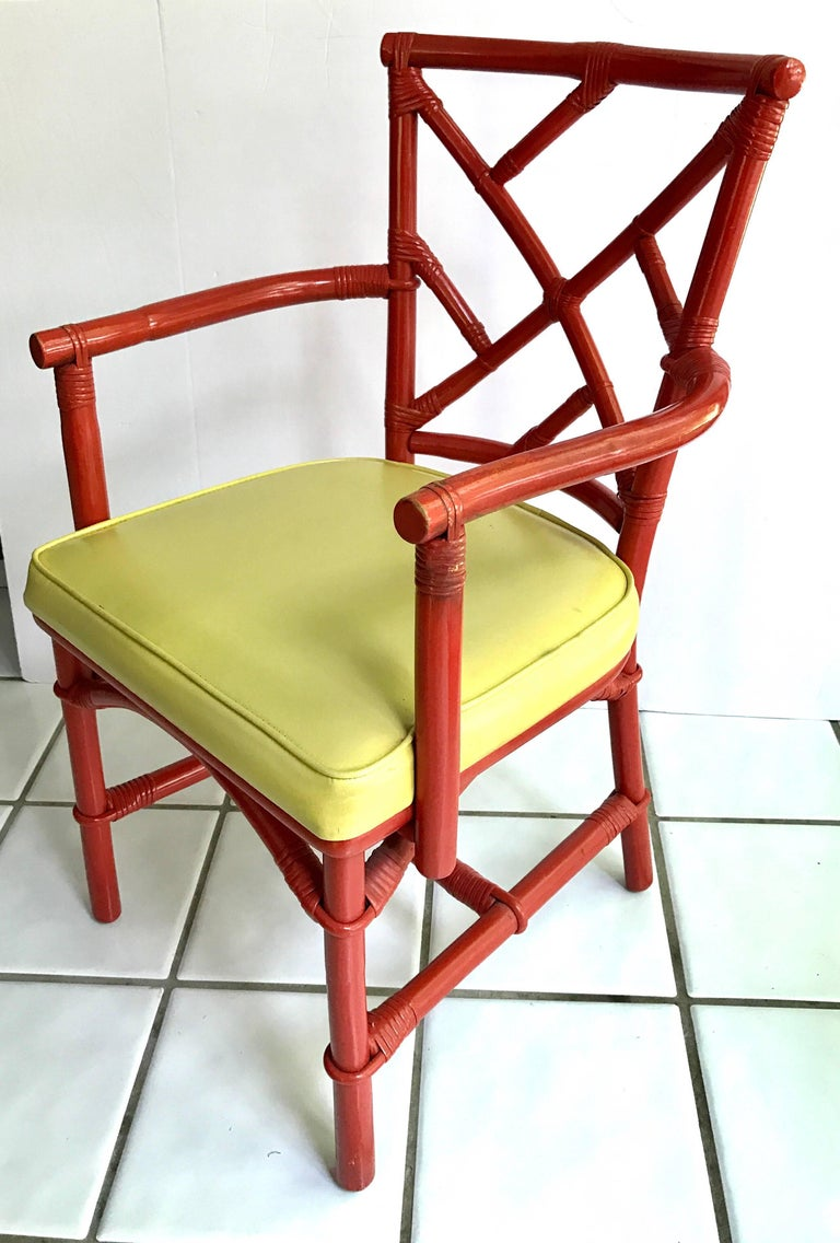 Mid-Century Modern Set of Eight Midcentury DIA Bamboo Rattan Chinese Chippendale Red Chairs For Sale