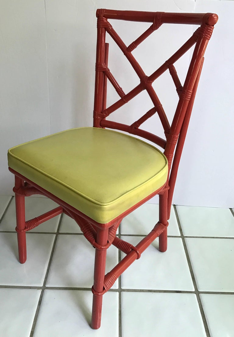 American Set of Eight Midcentury DIA Bamboo Rattan Chinese Chippendale Red Chairs For Sale
