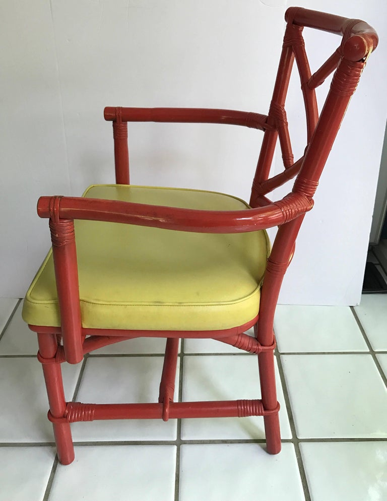 Set of Eight Midcentury DIA Bamboo Rattan Chinese Chippendale Red Chairs In Excellent Condition For Sale In West Hartford, CT