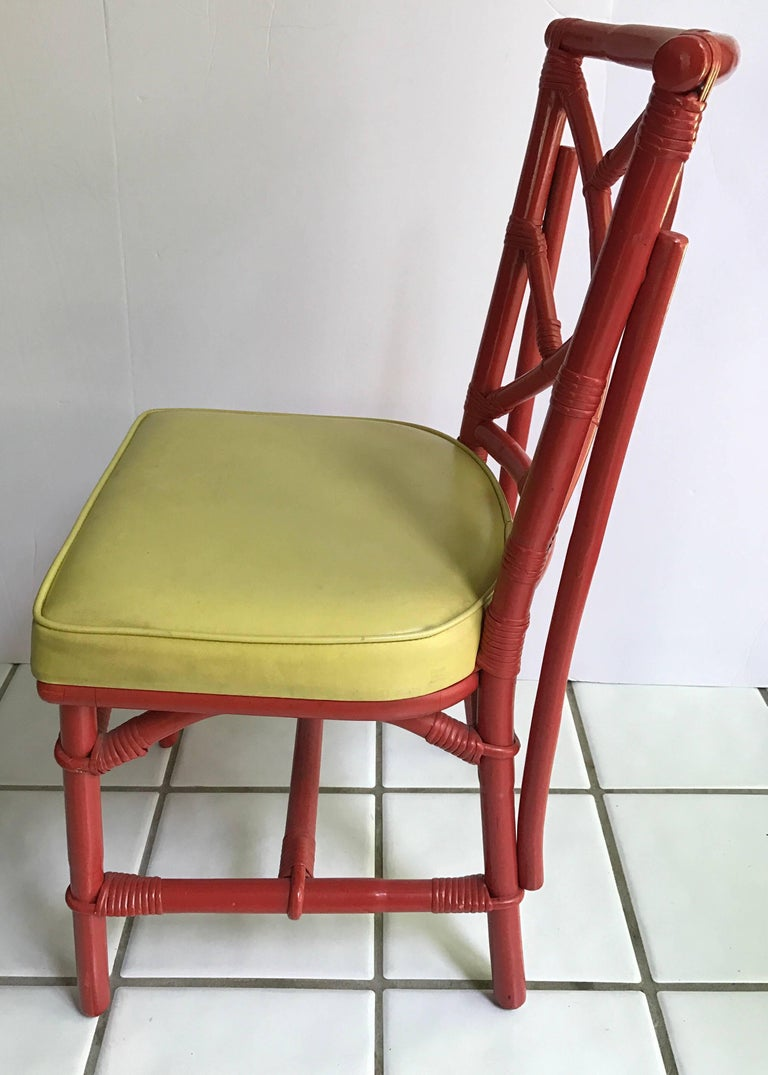 Late 20th Century Set of Eight Midcentury DIA Bamboo Rattan Chinese Chippendale Red Chairs For Sale