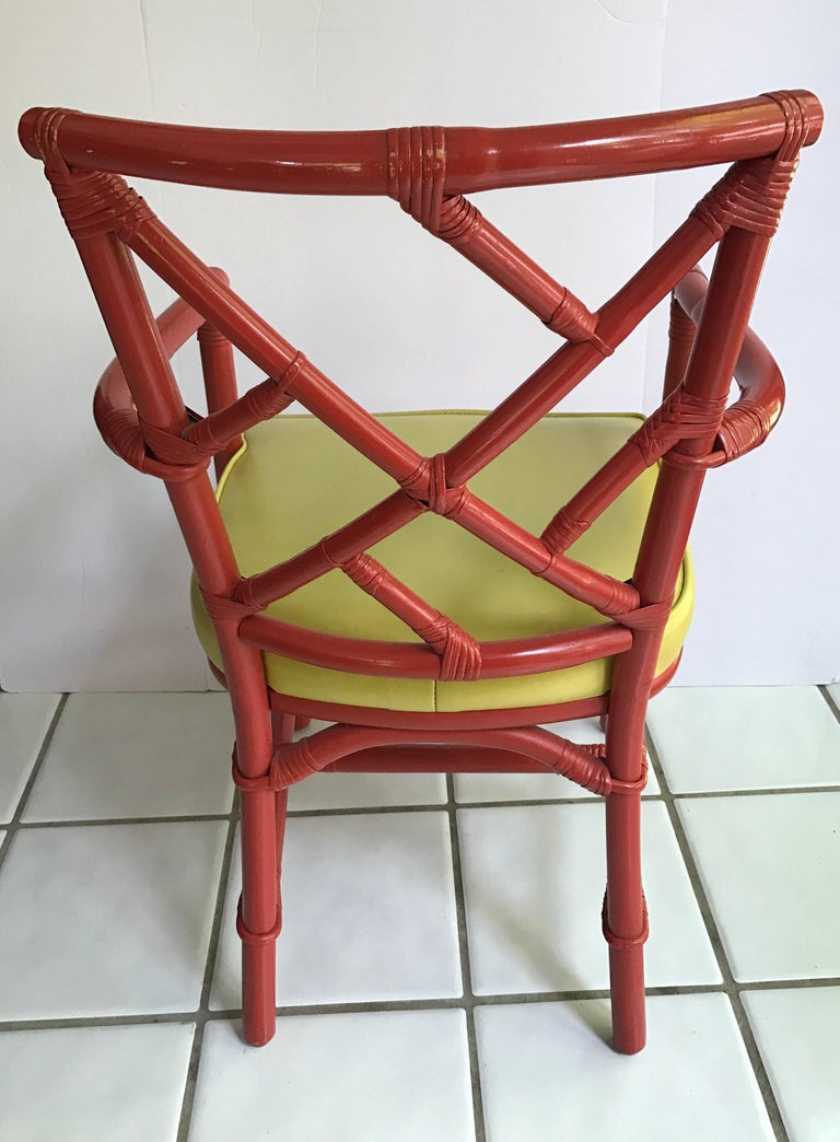 Fabric Set of Eight Midcentury DIA Bamboo Rattan Chinese Chippendale Red Chairs For Sale