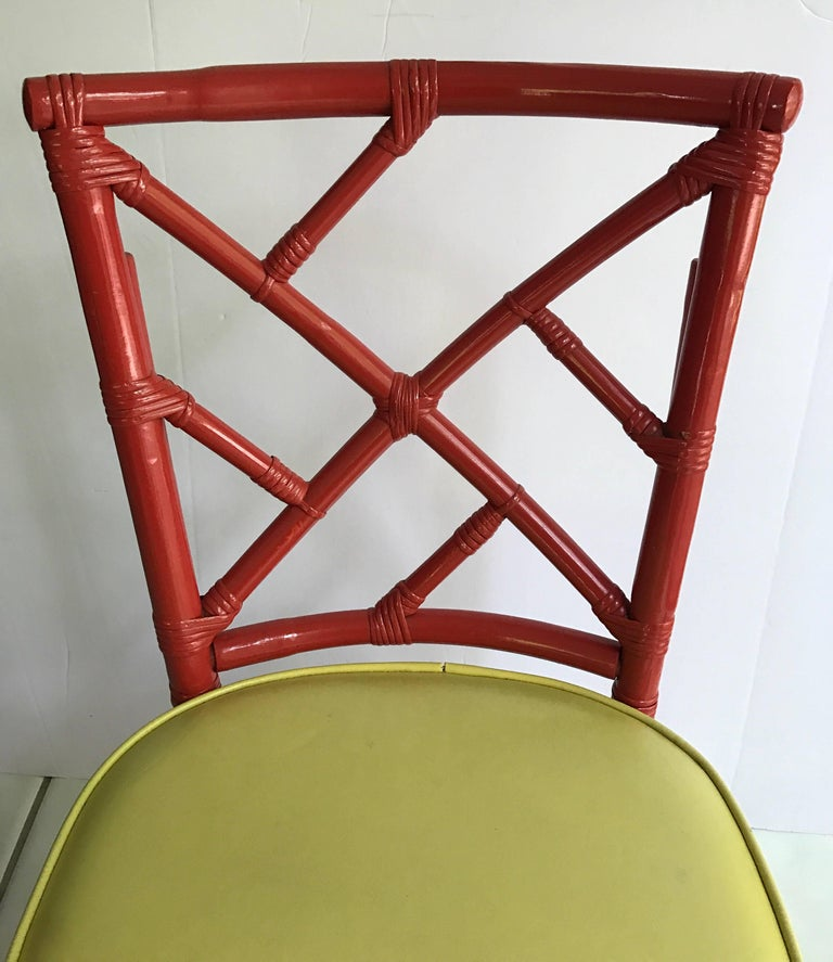 Set of Eight Midcentury DIA Bamboo Rattan Chinese Chippendale Red Chairs For Sale 1