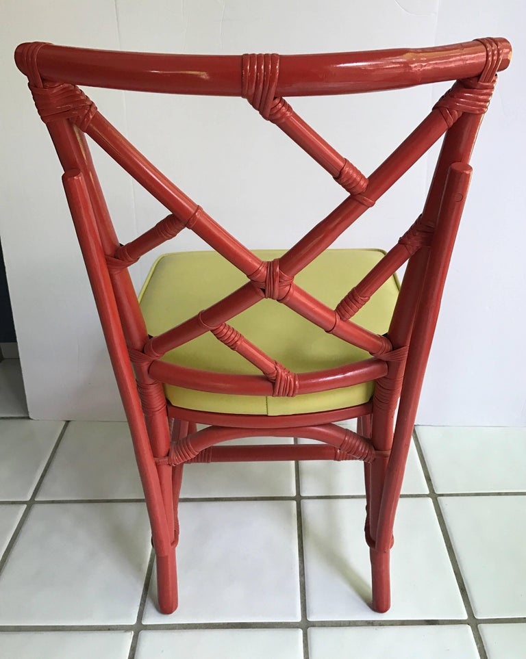 Set of Eight Midcentury DIA Bamboo Rattan Chinese Chippendale Red Chairs For Sale 2