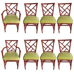 Set of Eight Midcentury DIA Bamboo Rattan Chinese Chippendale Red Chairs