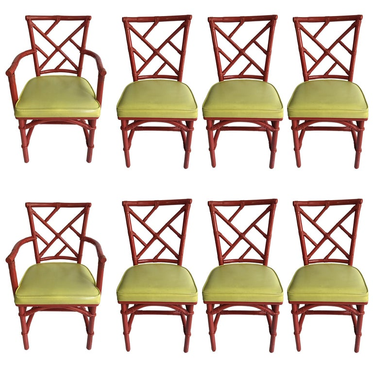 Set of Eight Midcentury DIA Bamboo Rattan Chinese Chippendale Red Chairs For Sale