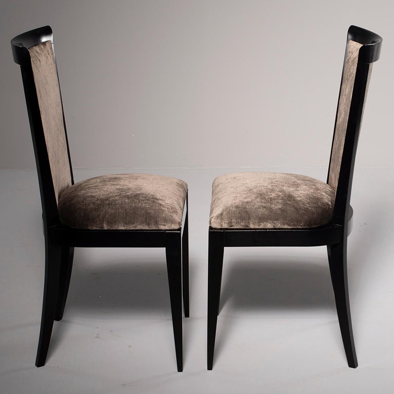 Mid-Century Modern Set of Eight Midcentury Ebonized Dining Chairs with New Upholstery For Sale