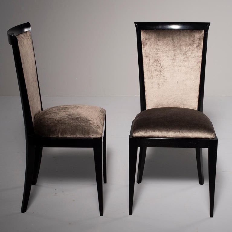 European Set of Eight Midcentury Ebonized Dining Chairs with New Upholstery For Sale