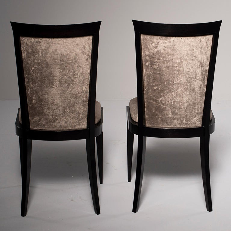 20th Century Set of Eight Midcentury Ebonized Dining Chairs with New Upholstery For Sale
