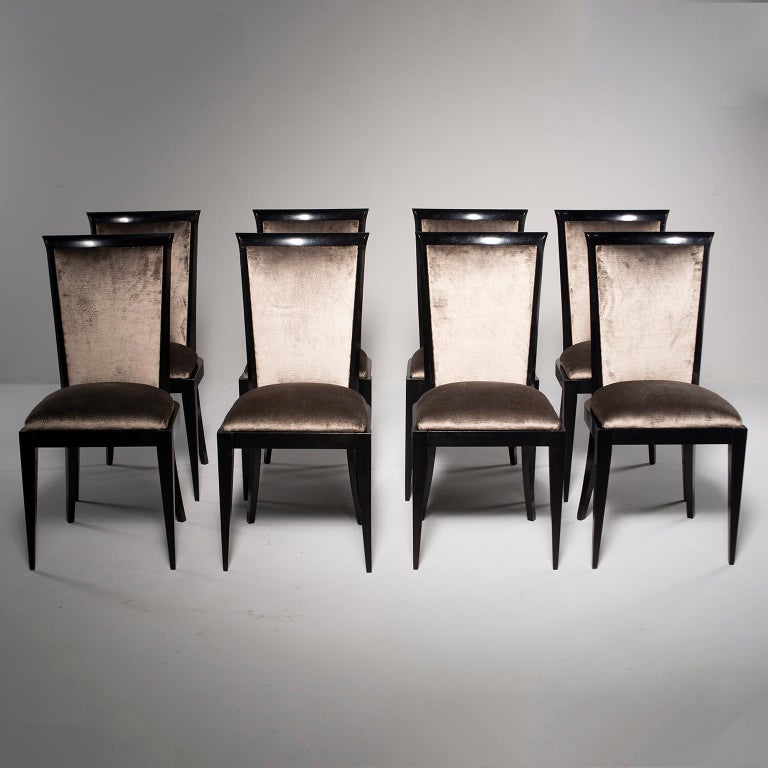 Set of Eight Midcentury Ebonized Dining Chairs with New Upholstery For Sale 2