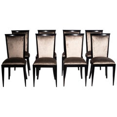 Set of Eight Midcentury Ebonized Dining Chairs with New Upholstery