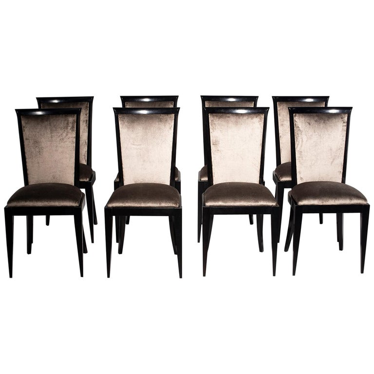 Set of Eight Midcentury Ebonized Dining Chairs with New Upholstery For Sale