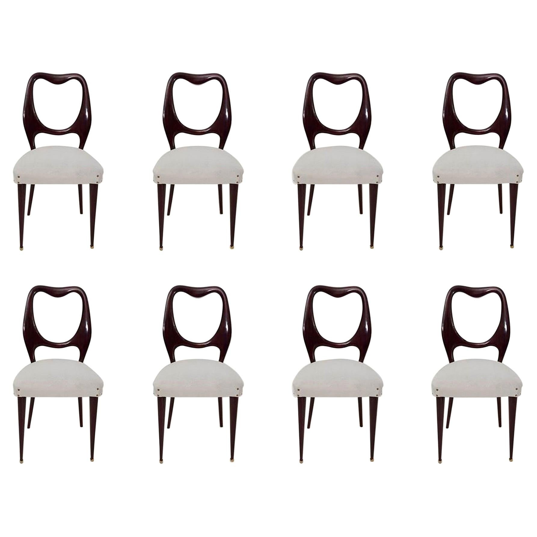 Set of Eight Midcentury Mahogany Dining Chairs by Vittorio Dassi, Italy