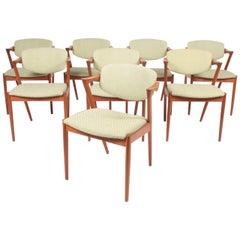 Set of Eight Midcentury Side Chairs in Teak by Kai Kristiansen, 1960s