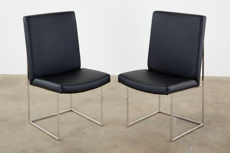 Mid-Century Modern Set of Eight Milo Baughman 1187 Chrome Dining Chairs For Sale