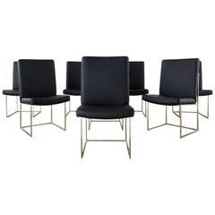 Set of Eight Milo Baughman 1187 Chrome Dining Chairs