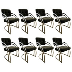 Set of Eight Milo Baughman Style Black Velvet and Chrome Dining Chairs