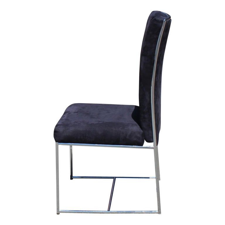 Mid-Century Modern Set of Eight Milo Baughman Ultra Suede and Chrome Dining Chairs For Sale