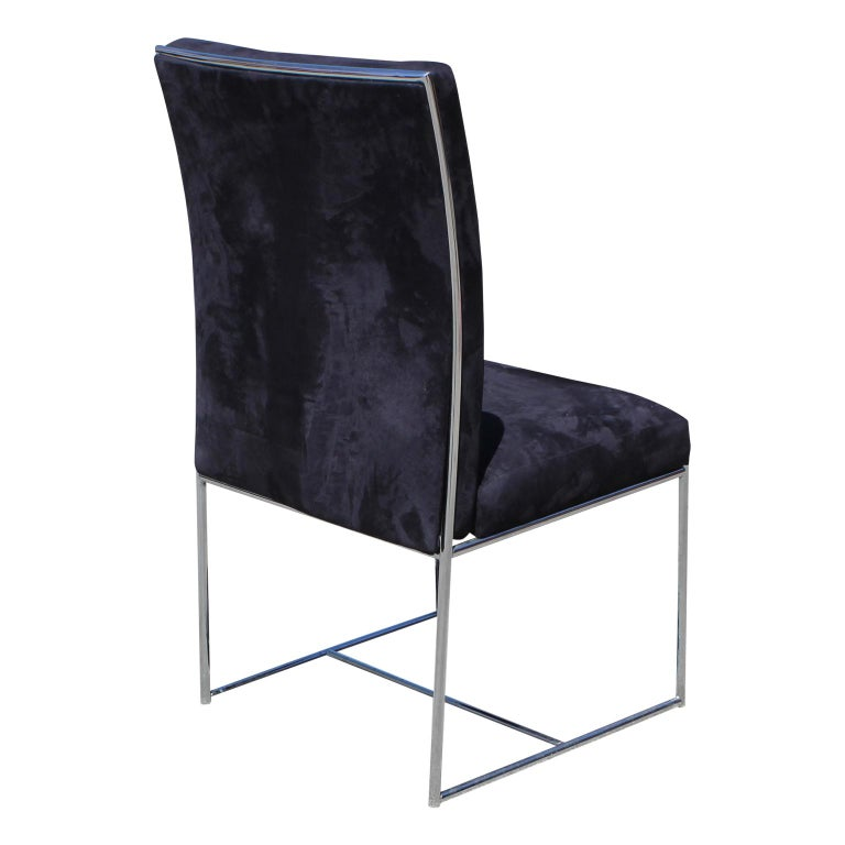 Set of Eight Milo Baughman Ultra Suede and Chrome Dining Chairs In Good Condition For Sale In Houston, TX