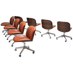 Set of Eight MIM Swivel Chairs in Rosewood and Coral Leather
