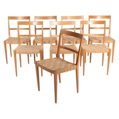 "Set of Eight ""Mimat"" Side Chairs Designed by Bruno Mathsson, 1960s"