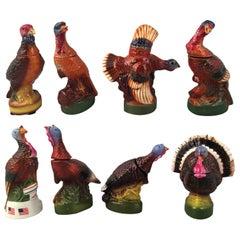 Set of Eight Mini Wild Turkey Decanters