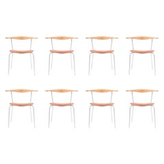 Set of Eight Minimal Chairs by Hans Wegner
