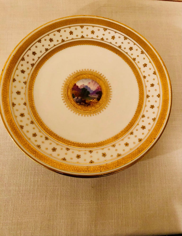 Set of Eight Minton Plates Each Beautifully Hand Painted With a Different Scene For Sale 2
