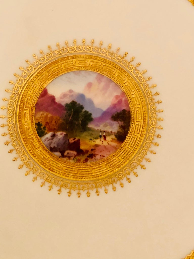 Set of Eight Minton Plates Each Beautifully Hand Painted With a Different Scene For Sale 3