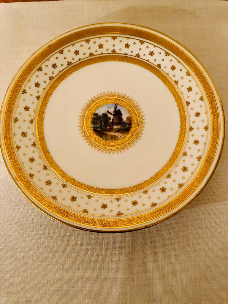 Set of Eight Minton Plates Each Beautifully Hand Painted With a Different Scene For Sale 4