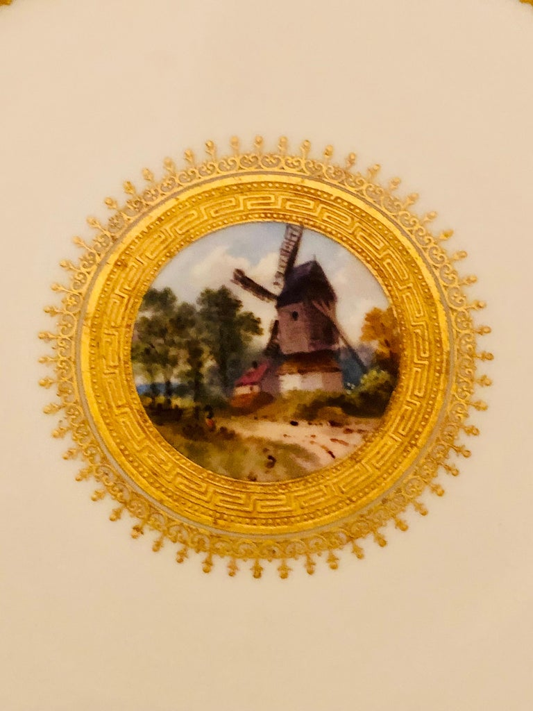 Set of Eight Minton Plates Each Beautifully Hand Painted With a Different Scene For Sale 5