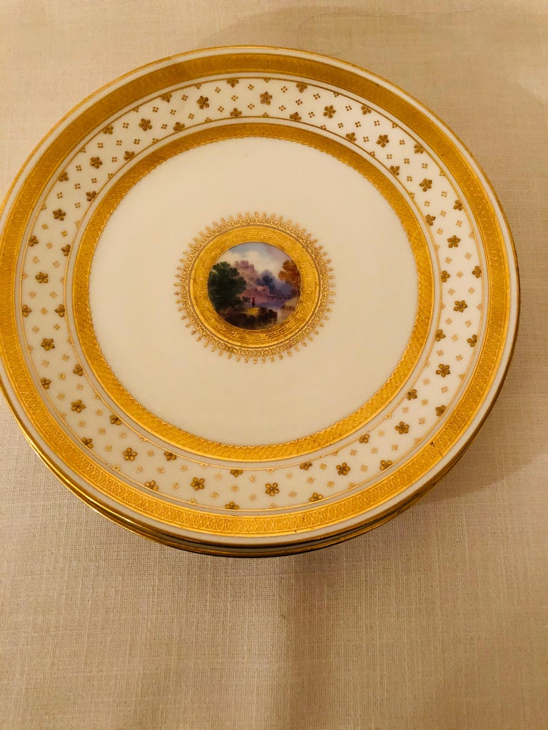 Set of Eight Minton Plates Each Beautifully Hand Painted With a Different Scene For Sale 6