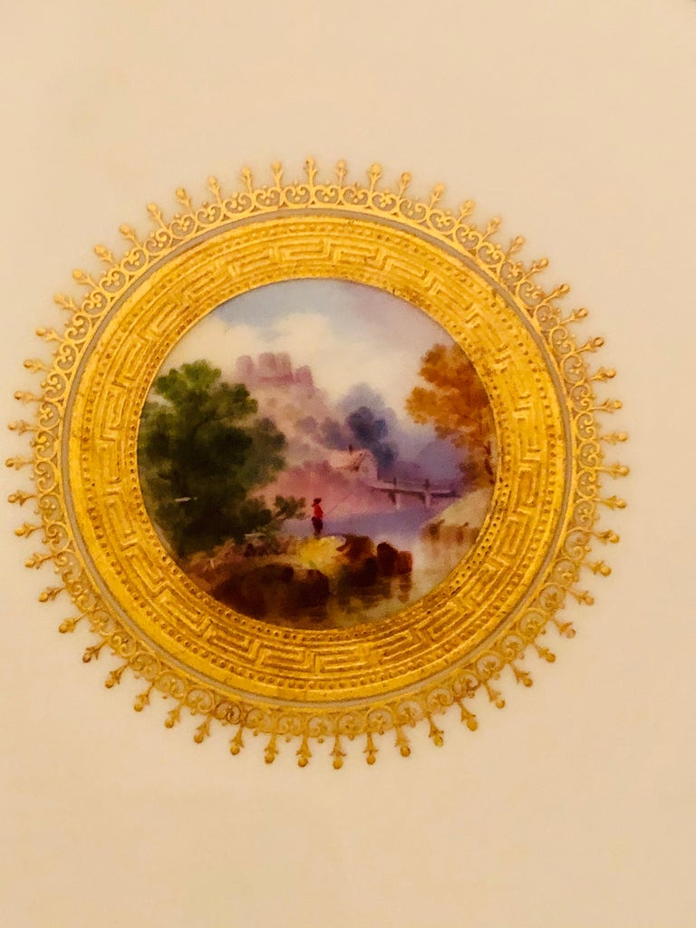 Set of Eight Minton Plates Each Beautifully Hand Painted With a Different Scene For Sale 7
