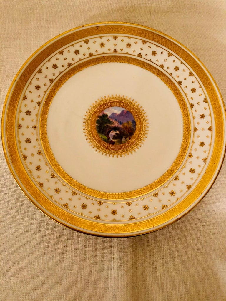 Set of Eight Minton Plates Each Beautifully Hand Painted With a Different Scene For Sale 8